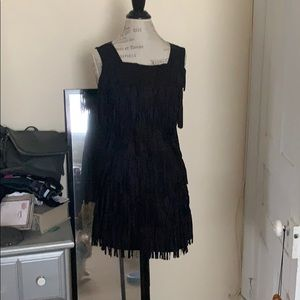 NWT flapper style mini-dress fringe suede
